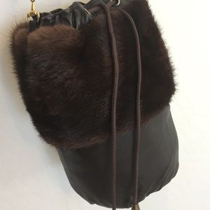 Vegan Faux Leather Fur Crossbody Satchel Purse Bag